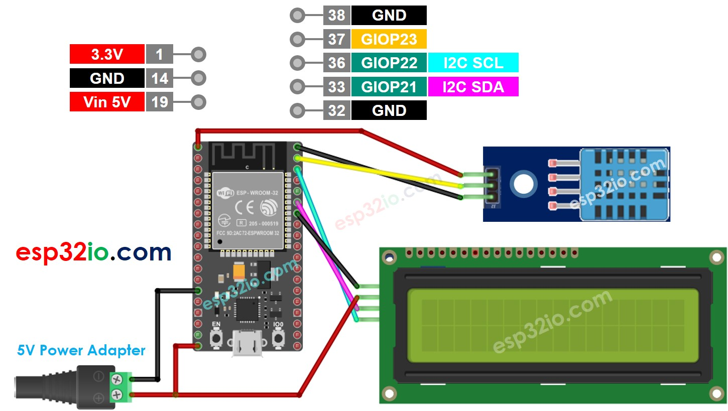 ESP32 DHT11 temperature and humidity LCD Wiring Diagram