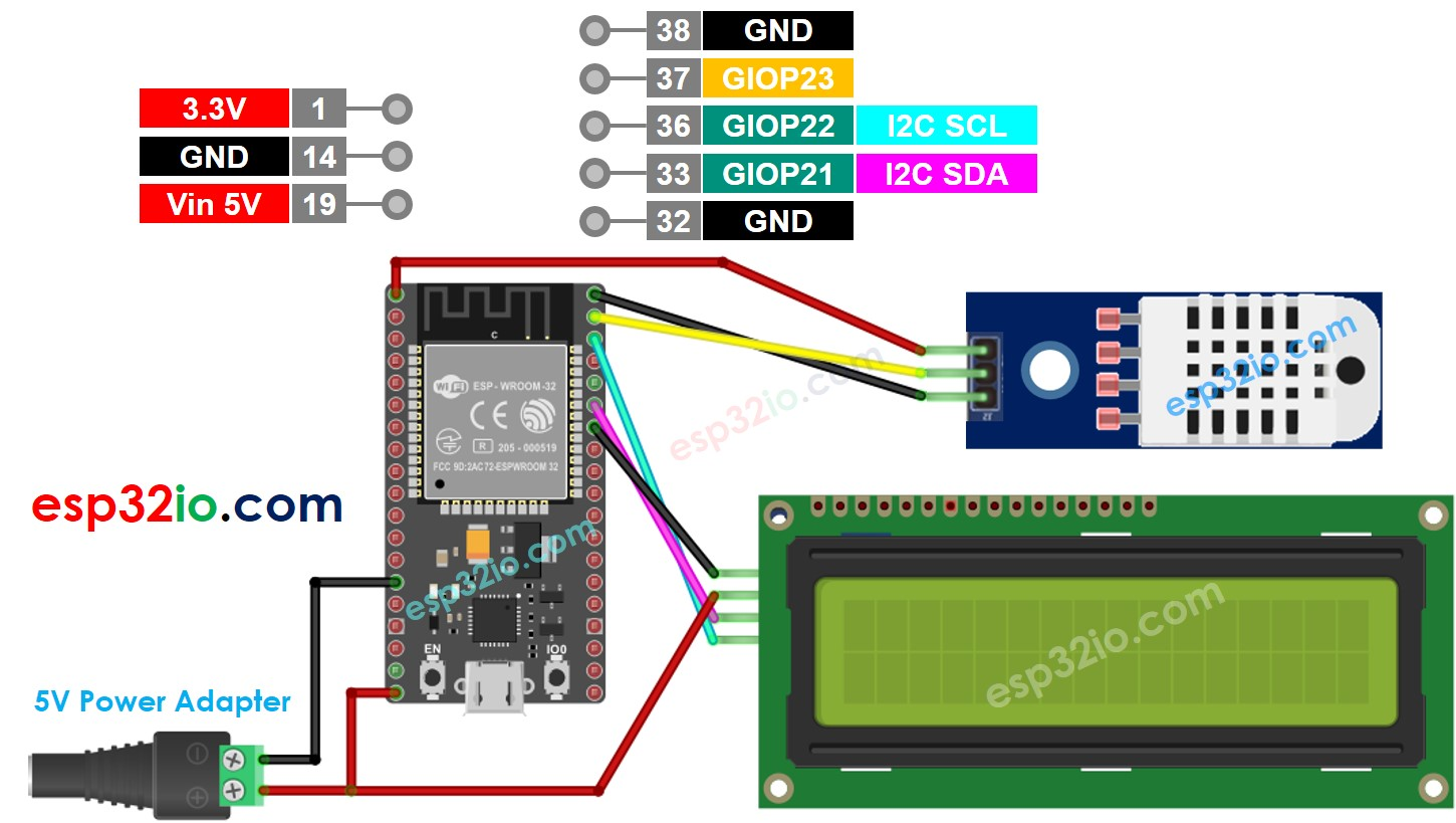 ESP32 DHT22 temperature and humidity LCD Wiring Diagram