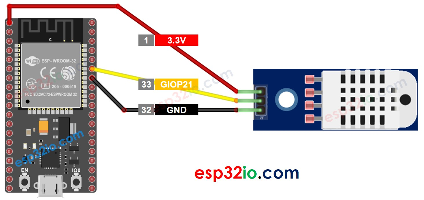 ESP32 DHT22 Temperature and humidity Module Wiring Diagram